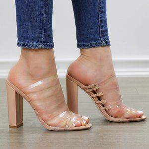 Nude & Clear Strappy Chunky Heel Open Toe Sandals